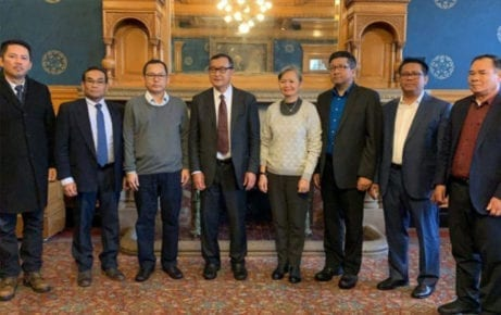 Several senior CNRP leaders including Sam Rainsy, center-left, and Mu Sochua, center-right, in an undated photo posted to Rainsy's Facebook page in early 2019.