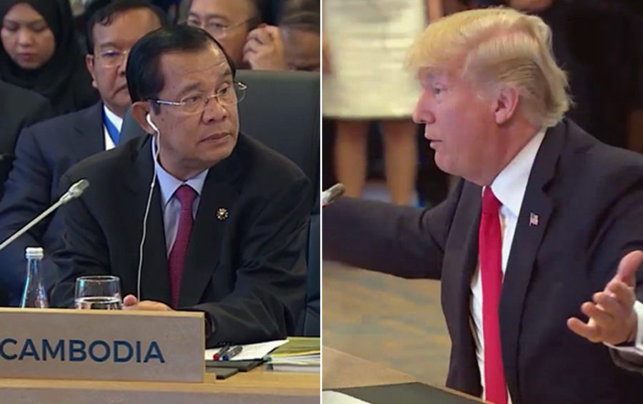 Cambodian Prime Minister Hun Sen and US President Donald Trump at the ASEAN Summit in Manila in November 2017.