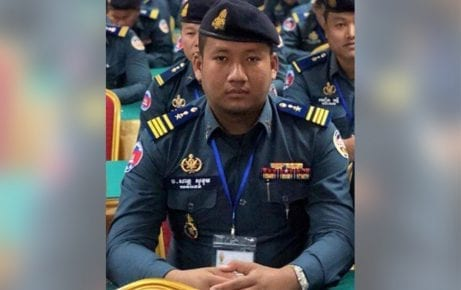 San Sokhom, a military police major in Kompong Cham province and son of the commander of neighboring Kratie province's military police.