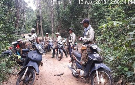 During a patrol of Prey Lang forest in Kampong Thom province on October 13-15, 2018. (Supplied)