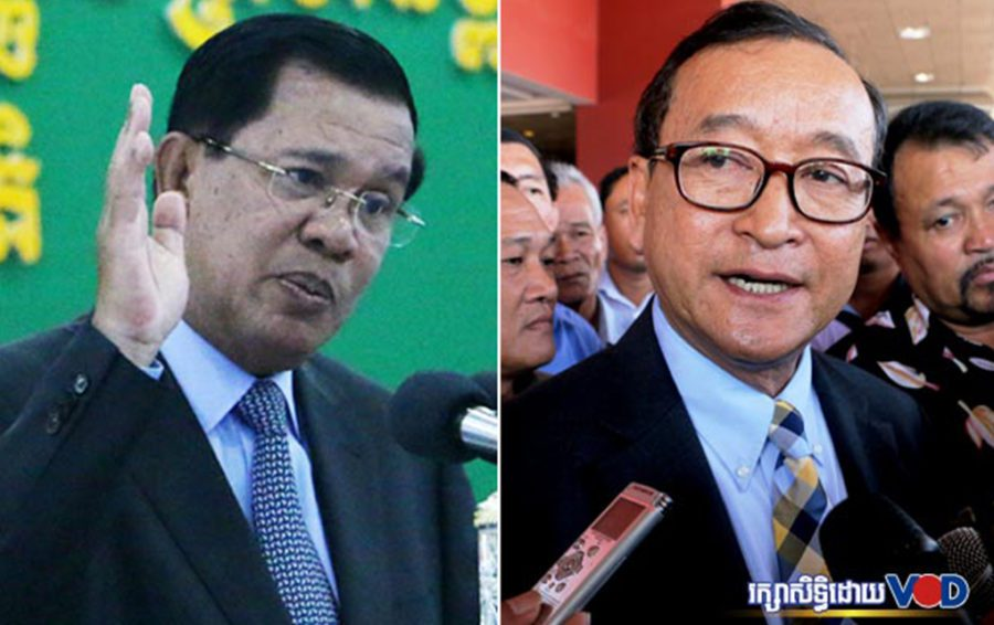 Prime Minister Hun Sen and opposition leader Sam Rainsy (file photos)