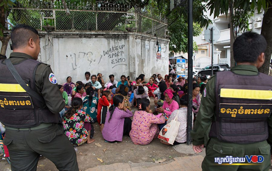 Land protestors from Koh Kong province outside the Land Management Ministry in Phnom Penh on July 1. (VOD)