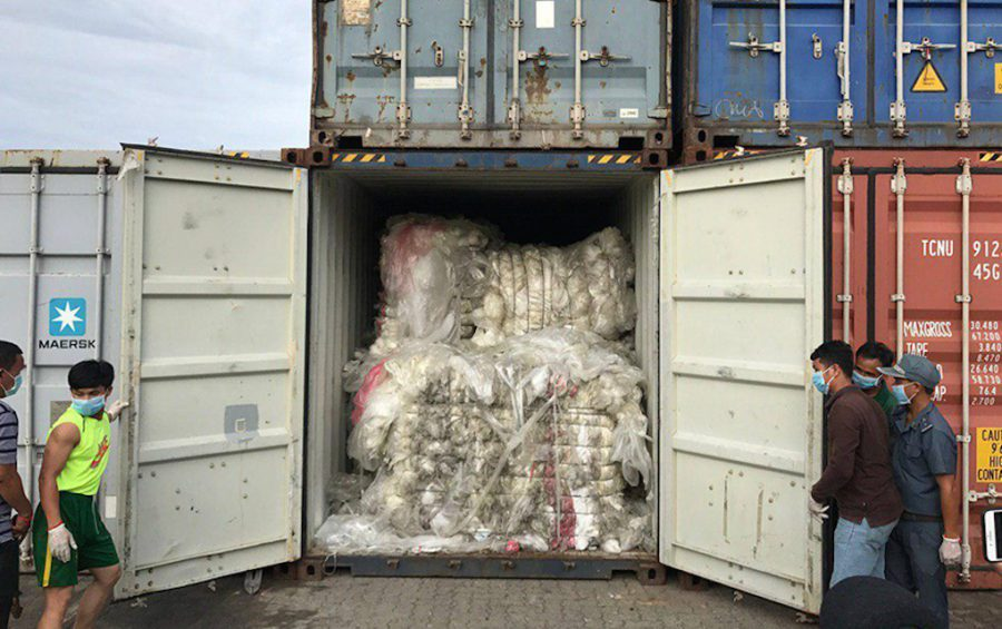 A container filled with plastic waste at the Sihanoukville Autonomous Port