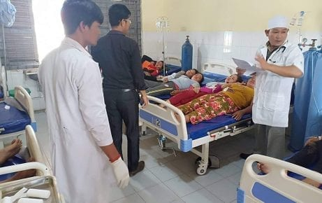 Garment workers relax in hospital after one of the notoriously dangerous trucks that they ride to work tipped over in Svay Rieng province on July 30, 2019. (Collective Union of Movement of Workers' Facebook page)
