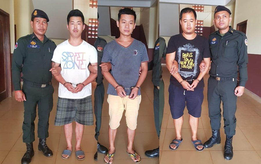 Three Chinese Workers charged in forestry crackdown in Mondulkiri. Image: Facebook GRK News