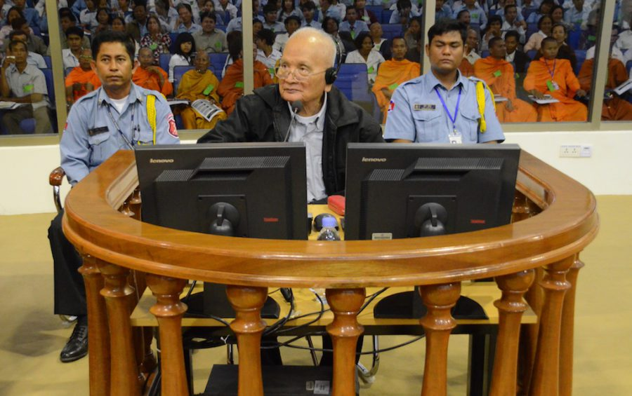 Nuon Chea during a Khmer Rouge tribunal Trial Chamber hearing on December 5, 2011 (ECCC)