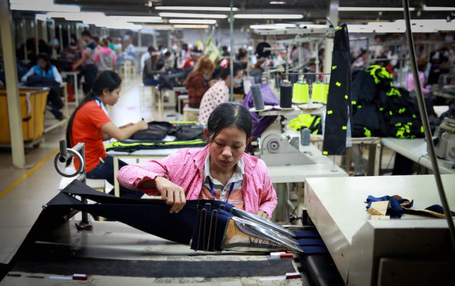 Garment workers in a factory in Cambodia on December 9, 2014 (ILO)