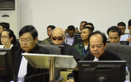 Noun Chea (with sunglasses) and members of his defense team, including Doreen Chen (far left), Son Arun (front left) and Suon Visal (front right) in the courtroom for a trial hearing on January 8, 2015. (ECCC)
