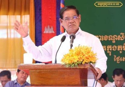 Interior Minister Sar Kheng gives a speech on July 13, 2019 in Prey Veng province. (Sar Kheng's Facebook page)