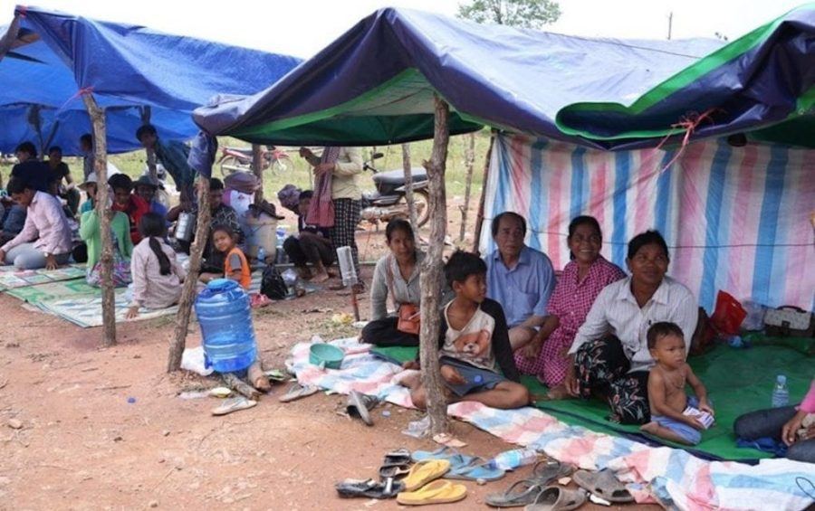 Evacuees rest under tents in Ratanakiri province's Lumphat district on August 11, 2019. (National Committee for Disaster Management)