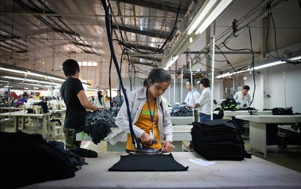A garment factory worker in Cambodia (ILO)