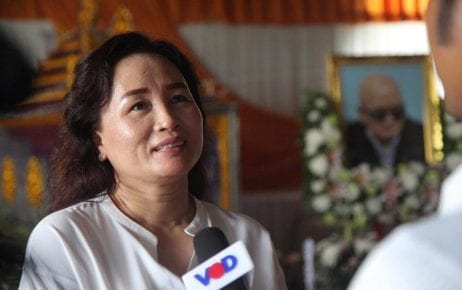 Lao Chea Linda speaks to a reporter at the funeral of her father, Nuon Chea, in Pailin province on August 6, 2019. (VOD/Chorn Chanren)
