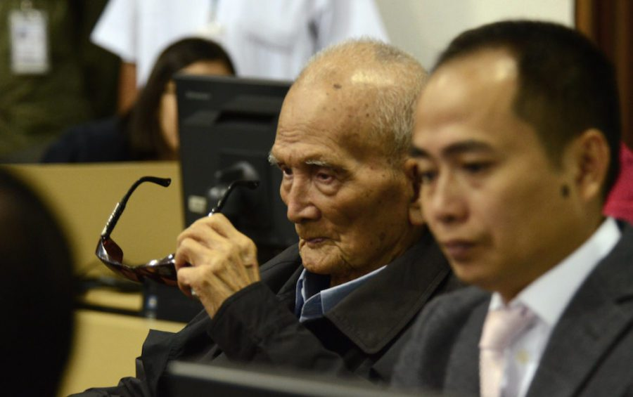 Nuon Chea at the Khmer Rouge Tribunal in Phnom Penh on November 16, 2018 (ECCC)