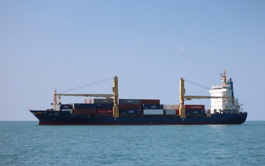 A feeder ship near Sihanoukville (Marko Mikkonen)