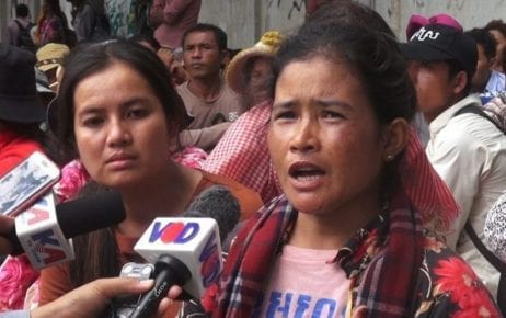 Protesters from Koh Kong province's Sre Ambel district gather in front of the Land Management Ministry in Phnom Penh on August 19, 2019. (VOD)