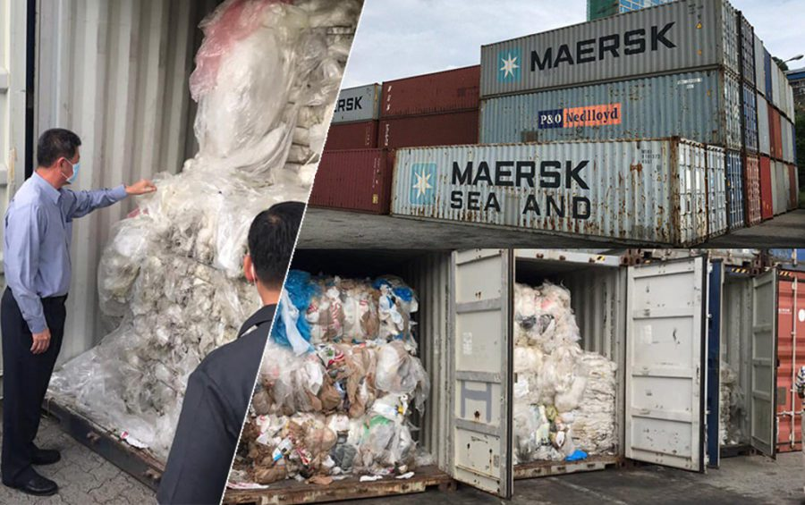 Containers filled with plastic waste at the Sihanoukville port on July 16, 2019