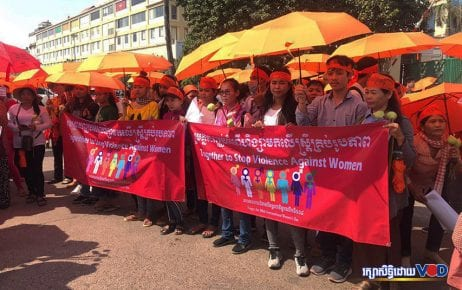 Civil society organizations gathered outside Phnom Penh's Olympic Stadium to mark International Women's Day on March 8, 2019. (Ra Phirath)