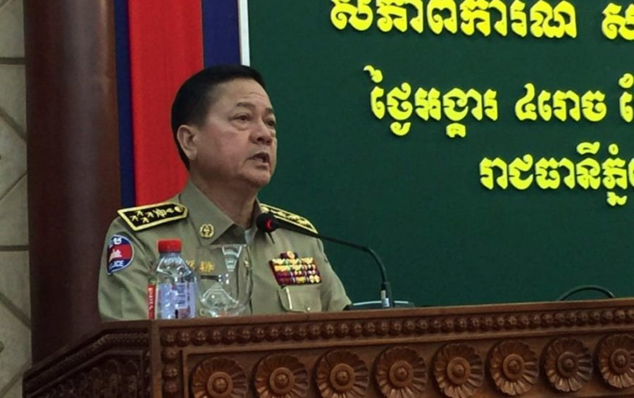 National Police spokesman Chhay Kim Khoeun speaks to reporters after a meeting with police officers on September 17, 2019 at the Interior Ministry in Phnom Penh. (Vann Vichar/VOD)