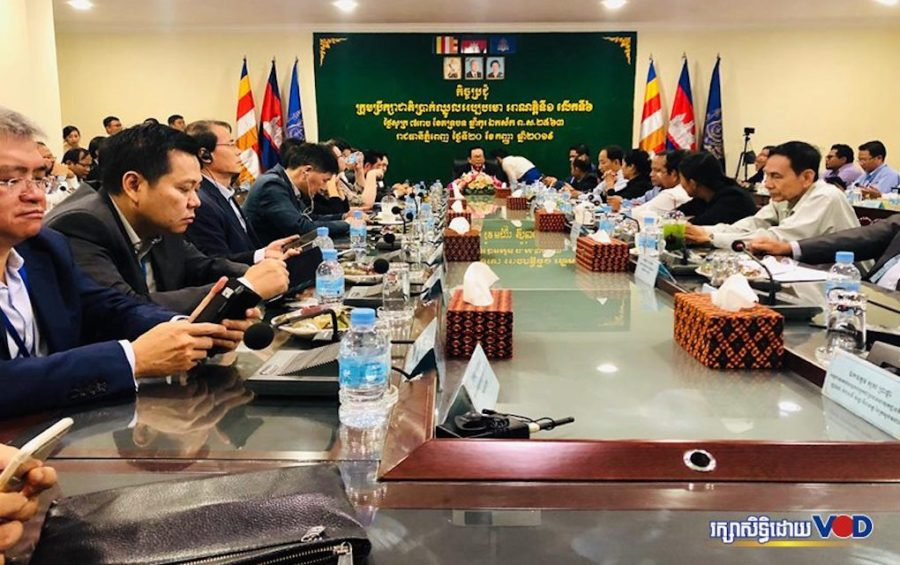 A National Minimum Wage Council meeting on the minimum wage for garment workers for 2020 at the Labor Ministry in Phnom Penh on September 20, 2019. (Khut Sokun/VOD)