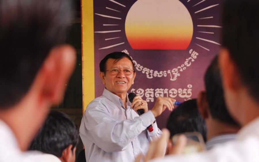 Kem Sokha gives a speech in Tbong Khmum province in 2017 before that year's commune elections. (Chhea Bunnarith)