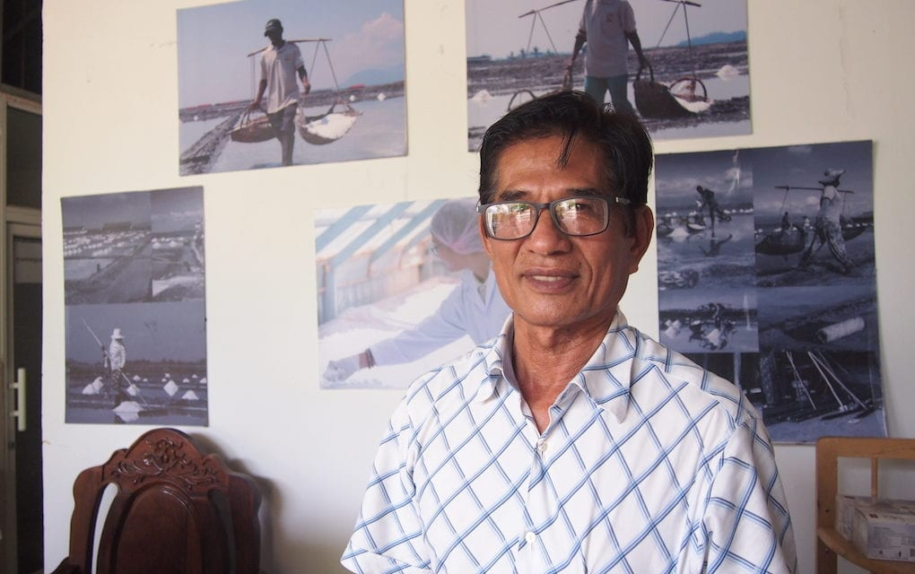 Bun Narin, former technical chief of the Salt Producers Community of Kampot and Kep, and chair of Thaung Enterprise salt producing company. Narin is working with his daughter, Thyda Thaung, to transform the family business into a company that exports high-quality natural salt. (Danielle Keeton-Olsen/VOD)