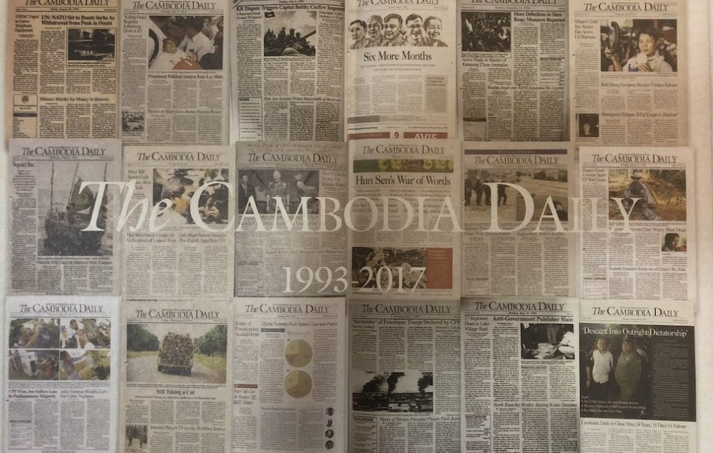 A collage of Cambodia Daily front-pages, which was included as a special cover of the final issue, published on September 4, 2019 (VOD)