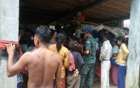 Chi Khor Leu commune police monitor a meeting of local residents involved in a land dispute in Koh Kong province on September 30, 2019 (Supplied)