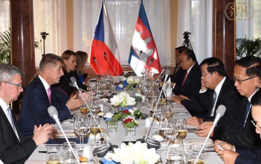 Prime Ministers Hun Sen and Andrej Babis during a meeting in Prague on October 14, 2019, in a photo posted to Hun Sen's Facebook page.