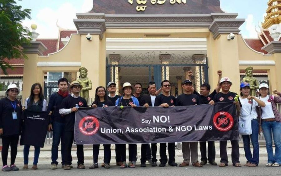 Civil society organization members gather in front of the National Assembly to submit a petition demanding it drop the NGO law in 2015, in a photo posted to the Facebook page of Sar Mory, vice president of the Cambodian Youth Network.