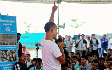 Cam-ASEAN Youth Future founder Srun Srorn speaks at Freedom Park in Phnom Penh for Paris Peace Agreements Day on October 23, 2019. (Mech Choulay)