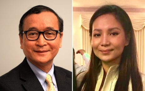 Sam Rainsy and Kem Monovithya (Supplied)