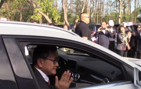 Sam Rainsy visits supporters in Montreal this week, in a video shared on his Facebook page.