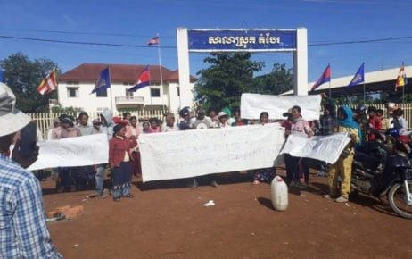 People protest in front of the Dambe district hall in Tbong Khmum province on October 18, 2019. (Supplied)