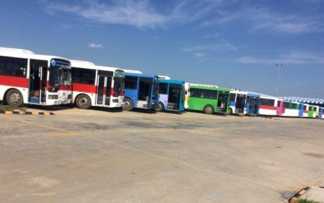 Out-of-service buses at the Phnom Penh Autonomous Bus Transportation Authority headquarters in Chroy Changvar district on October 22, 2019. (Chhorn Sopheap)