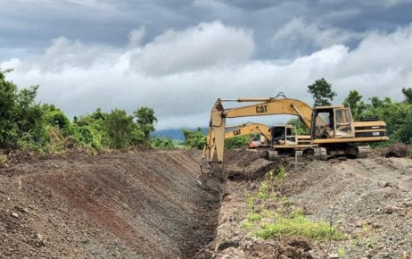 Excavators dig an irrigation channel in Kampong Speu province, in a photo posted to the Water Resources Ministry's Facebook page on October 24, 2019.