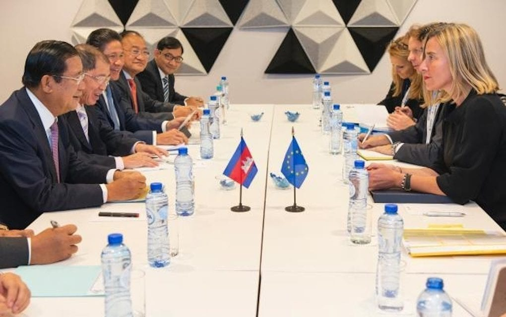 Prime Minister Hun Sen meets with Federica Mogherini, then-high representative of the EU for foreign affairs and security policy and vice president of the European Commission, in Brussels on October 18, 2018. (European External Action Service)