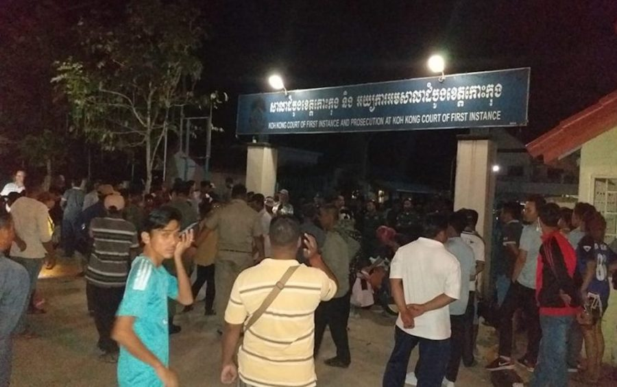 Local residents protest outside the Koh Kong Provincial Court demanding the release of a village guard on November 25, 2019. (Supplied)