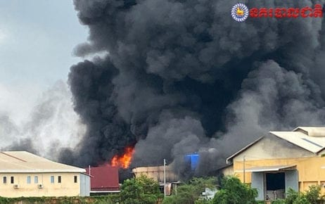 A factory fire burns in Phnom Penh's Prey Sar commune on November 11, 2019. (National Police)
