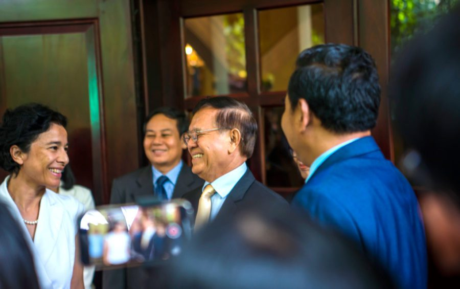 French Ambassador Eva Nguyen Binh and CNRP president Kem Sokha at the front door of his house on November 11, 2019. (Sanh Bun Hoeun/VOD)
