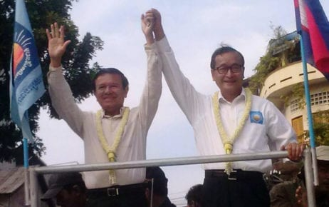 CNRP co-founders Kem Sokha and Sam Rainsy (VOD)