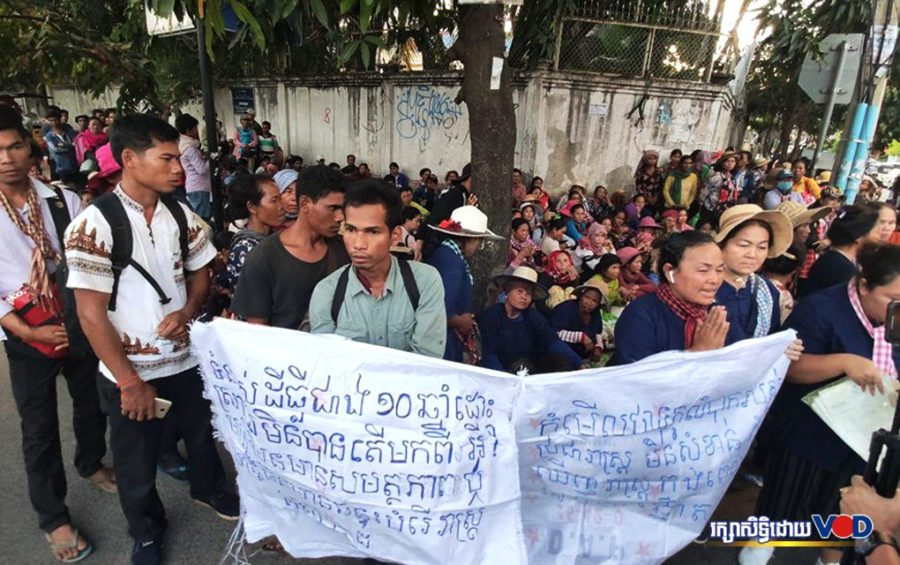 Villagers from three districts in Koh Kong province protest in front of the Land Management Ministry in Phnom Penh on November 25, 2019 to demand a solution to their land dispute. (Panha Chhorpoan/VOD)