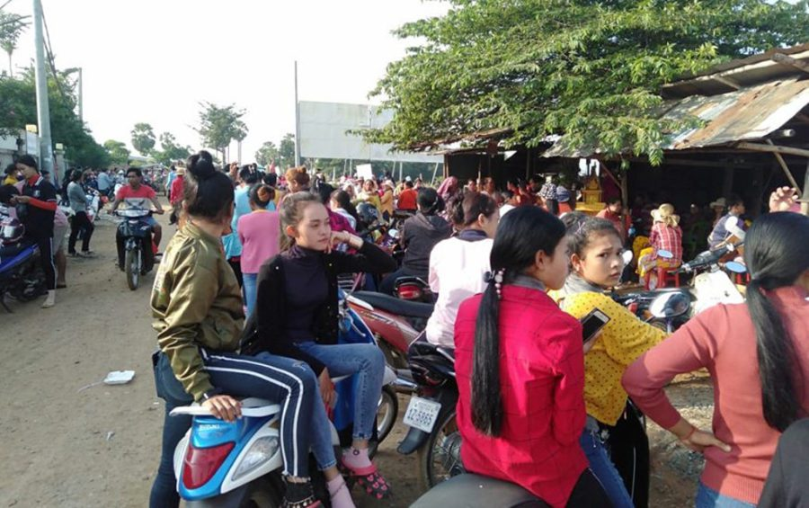 Workers protest outside the Monopia factory on November 14, 2019. (Supplied)