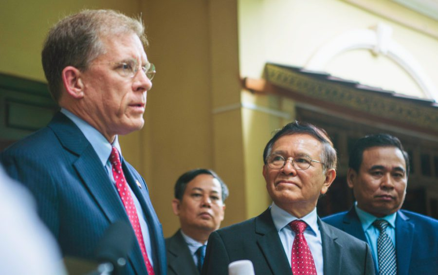 US Ambassador Patrick Murphy and CNRP president Kem Sokha outside Sokha's Phnom Penh home on November 11, 2019. (Sanh Bun Hoeun/VOD)