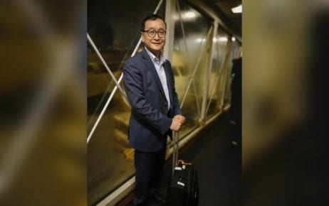 Sam Rainsy at what he wrote was a Paris airport before boarding a flight to Asia, in a photo posted to his Facebook page late November 8, 2019 Central European Standard time, early morning November 9, 2019 Indochina Time.