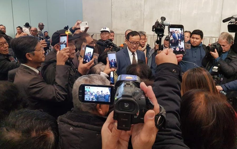 Sam Rainsy at Paris's Charles De Gaulle Airport on November 7, 2019. (Theirry Buth)