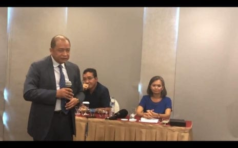 Cambodian ambassador Hor Nambora speaks at a press conference in Jakarta on November 6, 2019 as CNRP vice president Mu Sochua looks on, in a video posted online by Amanda Hodge, a correspondent for The Australian.