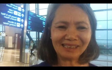 CNRP vice president Mu Sochua, in a video from Jakarta's airport on November 6, 2019 that was streamed live on her Facebook page.