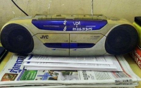 A Voice of America listener's radio (VOA/Public Domain)