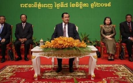 Prime Minister Hun Sen presides over an event at Phnom Penh's Sokha Hotel on November 7, 2019, in a photo posted to his Facebook page.