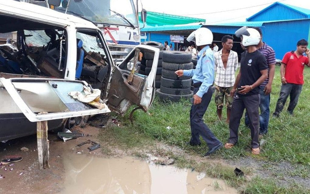 A traffic accident involving a truck and a van along Road 41 in Kampong Speu province's Baset district on June 11, 2019 is seen in this photograph posted to the Kampong Speu Provincial Police Headquarters' Facebook page.
